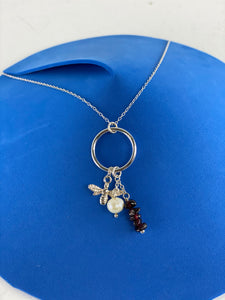 Sterling Silver Bee Pearl Stone Necklace