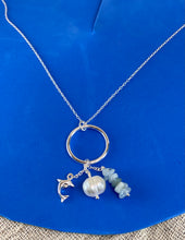 Load image into Gallery viewer, Sterling Silver Dolphin Pearl Stone Necklace