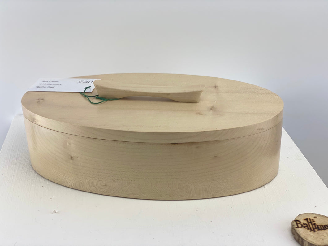 Irish Sycamore Oval Box. leather lined
