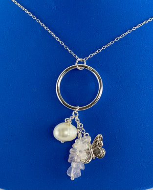 Sterling Silver Butterfly Pearl Stone Necklace