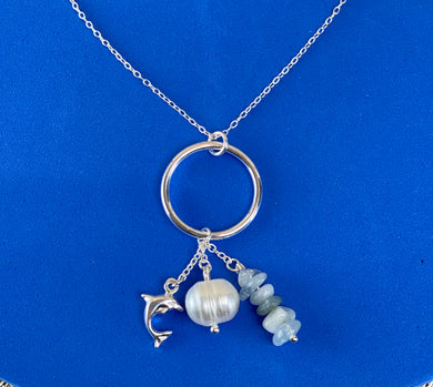 Sterling Silver Dolphin Pearl Stone Necklace