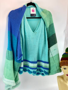 Ladies Knitted Shrug Ocean Colour