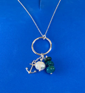 Sterling Silver Anchor Pearl Stone Necklace
