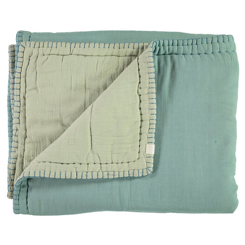 2-Tone Quilted Blanket - Light Teal/Mint
