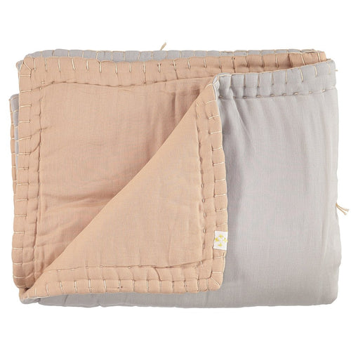 2-Tone Quilted Blanket - Peach Blossom/Ash
