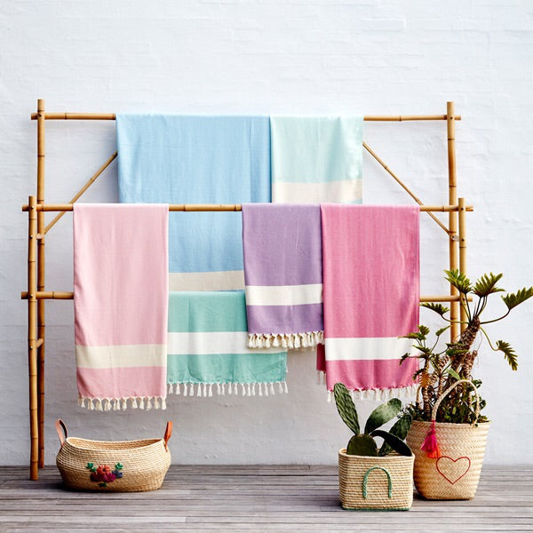Soft Hamam Turkish Towel/Blanket - Baby Pink