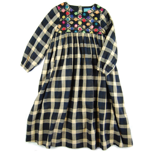 Dress Lupita Plaid Embroidery