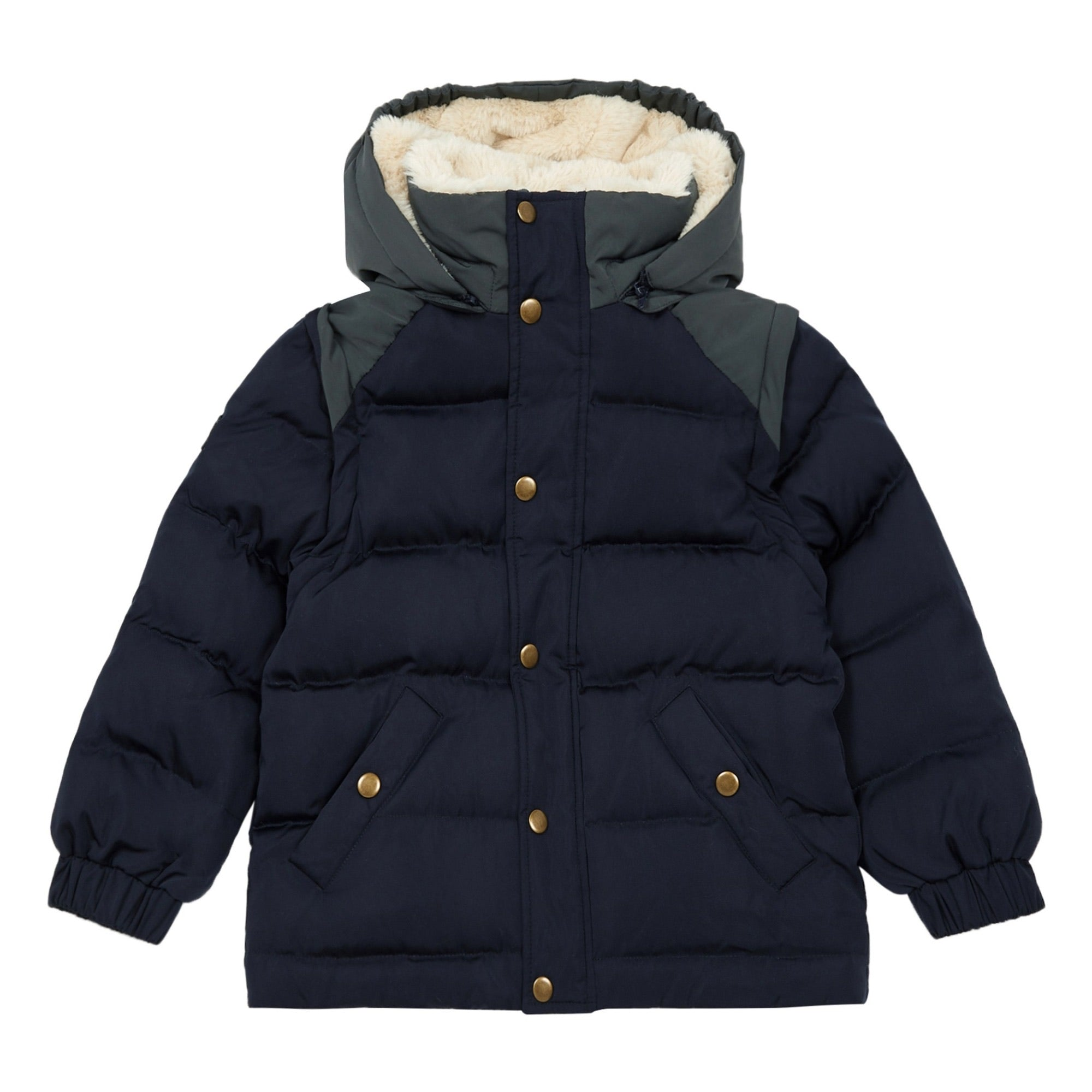 Hooded puffer jacket with removable sleeves Navy