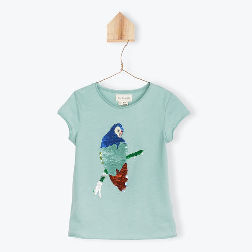 Teal Green Parrot Sequined Tee
