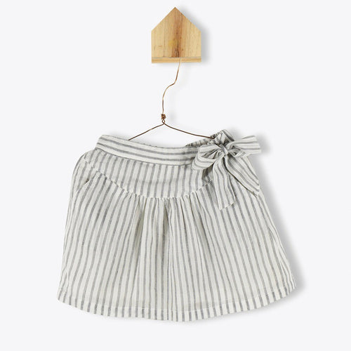 Fine Striped Skirt with Bow