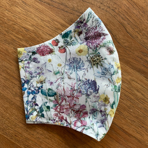 Handmade Reusable Face Mask (Liberty) -  Wild Flowers White