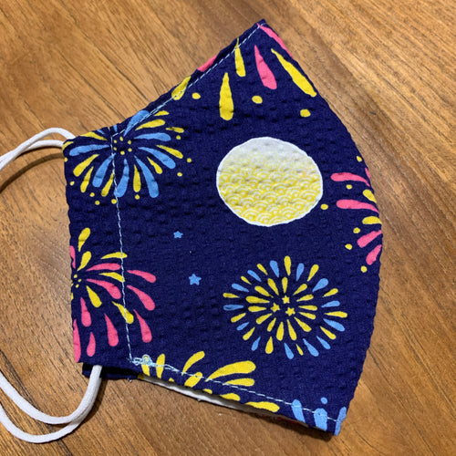 Handmade Reusable Face Mask - Navy Firework