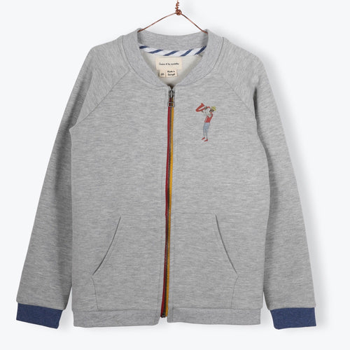 Gris Zip Up Teddy