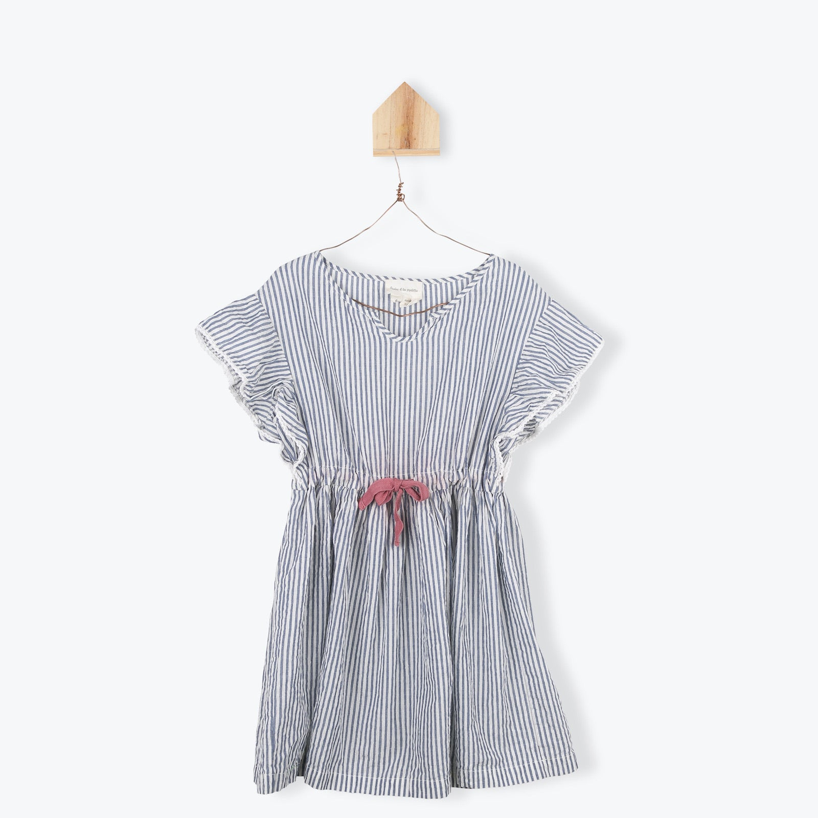 Striped Front Drawstring Dress