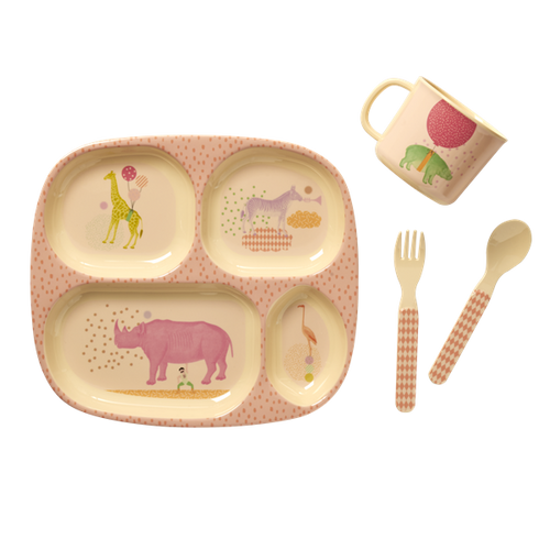 Melamine Baby Dinner Set in Gift Box with Animal Print - Pink