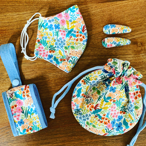 Handmade Back to School Mask Set - English Garden White