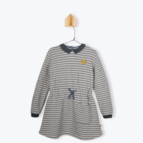 Collared Striped Sweat Dress