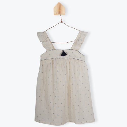 Jacquard Voile Dress Ecru