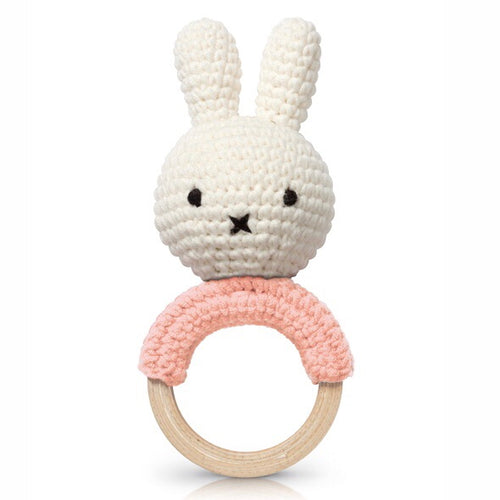 Miffy Handmade Teething Rattle - Pastel Pink