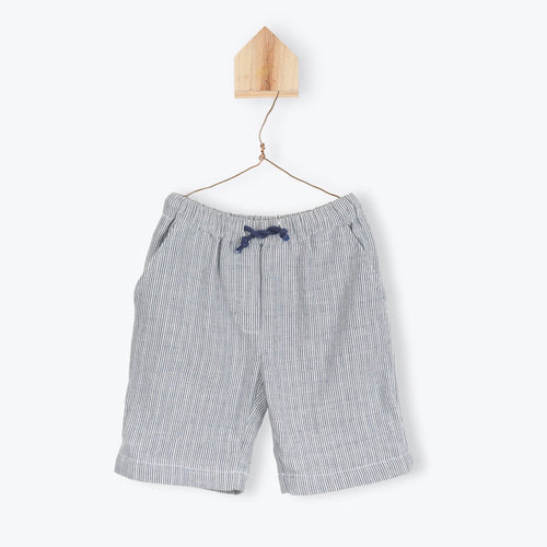 Blue Striped Bermuda Shorts