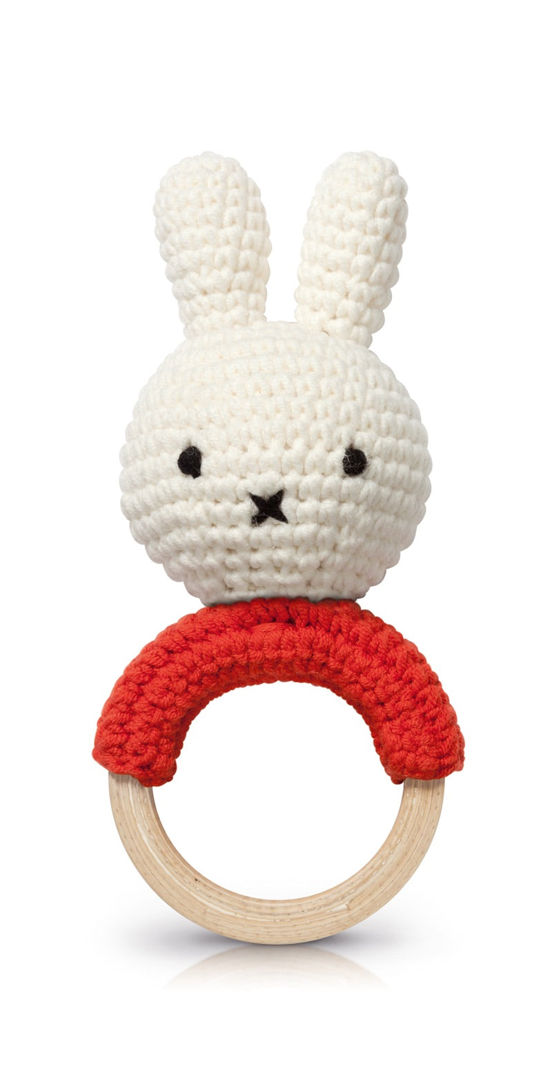 Miffy Handmade Teething Rattle - Red