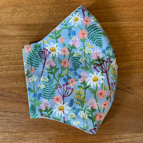 Handmade Reusable Face Mask - Fable Wildwood Blue