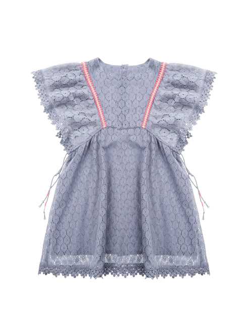 Dress Norah Silver Cloud Lace Flowers