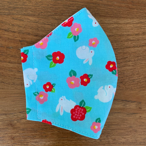 Handmade Reusable Face Mask - Bunnies and flowers
