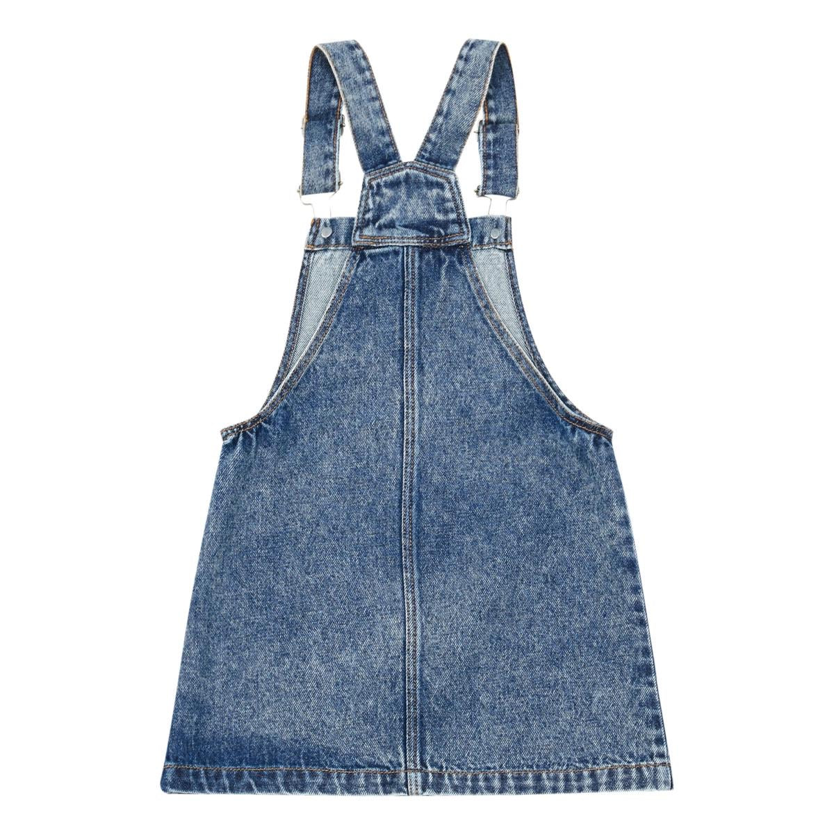 Denim Overall Dress Bleached