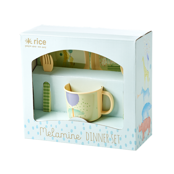 Melamine Baby Dinner Set in Gift Box with Animal Print - Blue