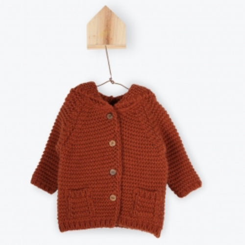 Moss Stitch Knitted Rabbit Ear Cardigan - Rusty