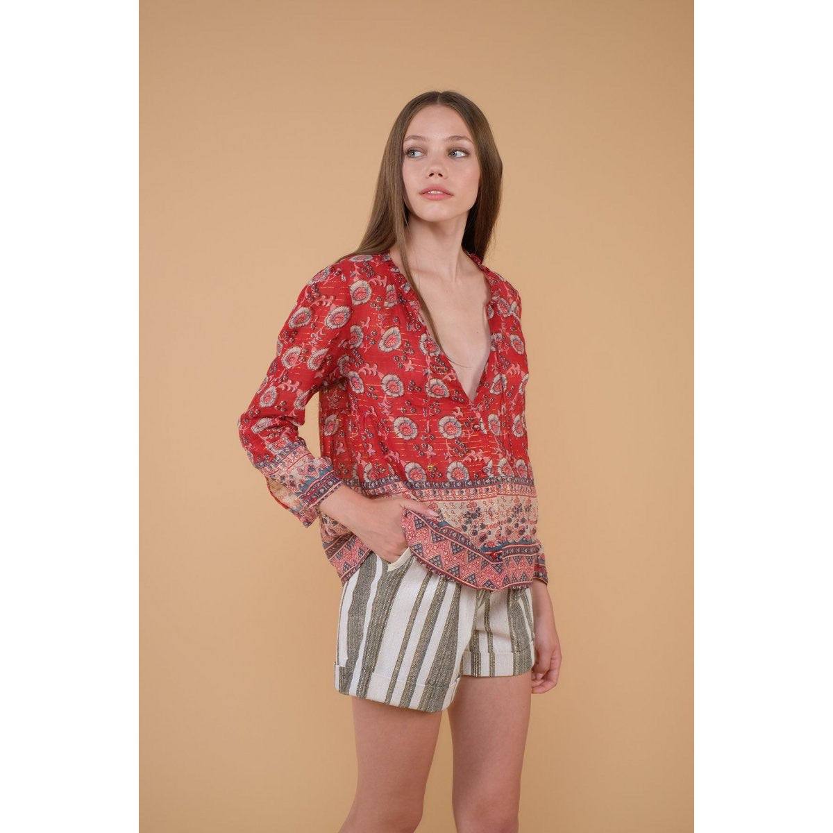 Blouse Papaya Red Flowers