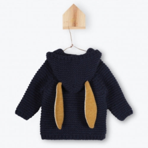 Moss Stitch Knitted Rabbit Ear Cardigan - Navy