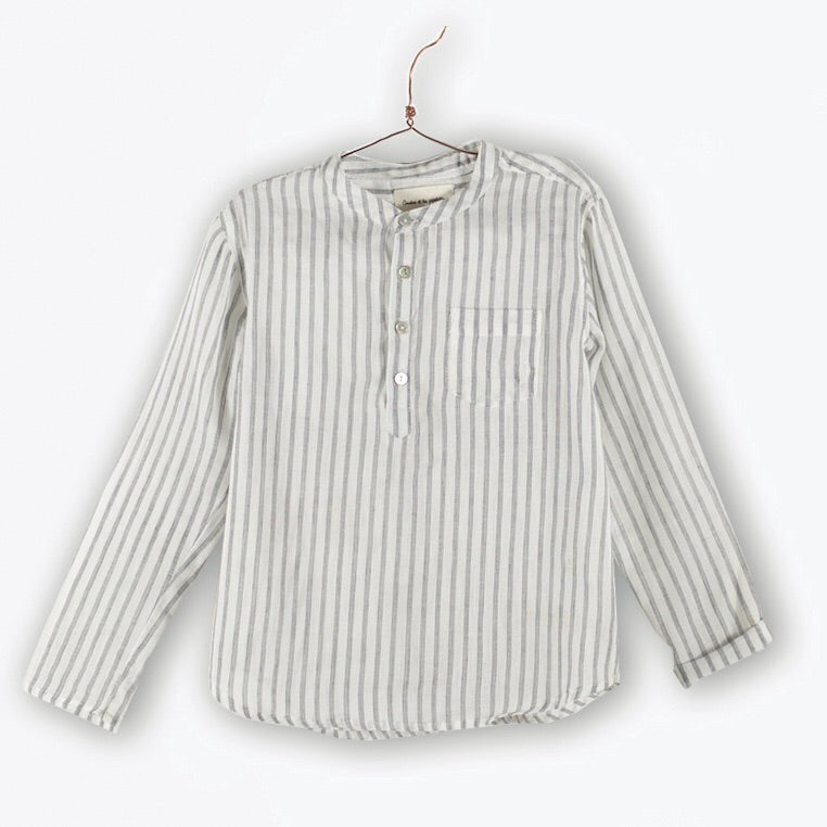 Fine Striped Collarless Shirt