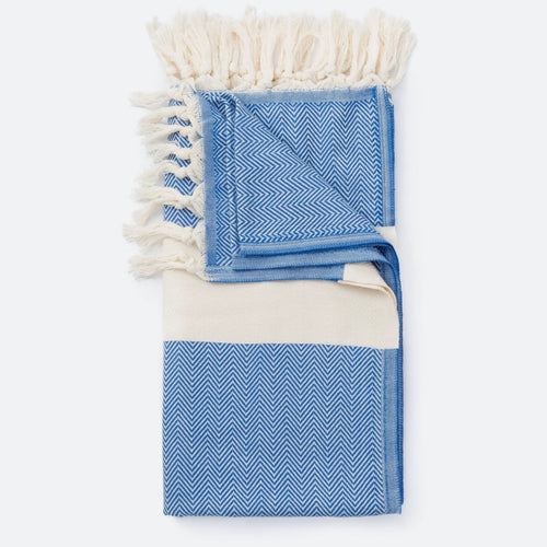 Soft Hamam Turkish Towel/Blanket - Blue