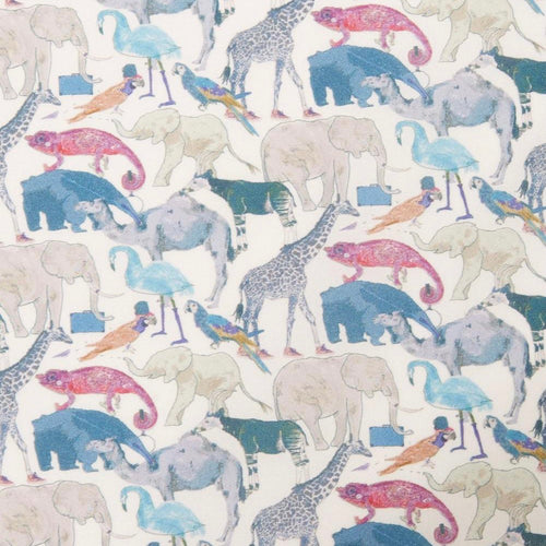 "Handmade Reusable Face Mask - Liberty Fabrics ""Queue for the Zoo"" Blue"