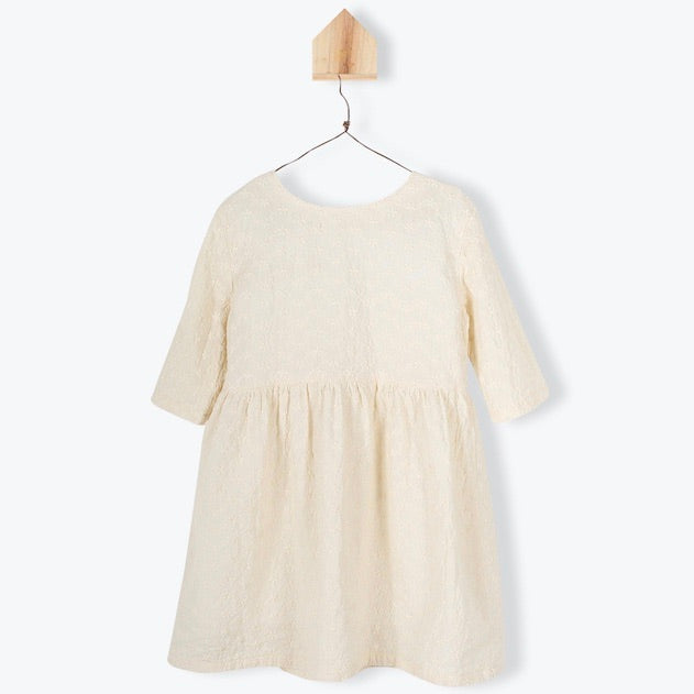 Broderie Anglaise Mid Sleeves Dress Ecru
