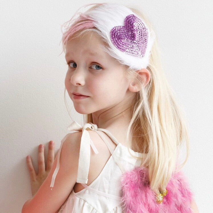 Heart Sequin and Feather Headband