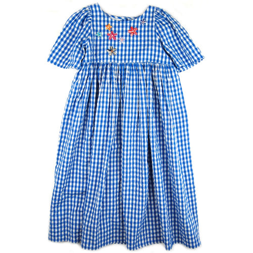 Lupe Maxi Dress Blue Gingham Embroidered