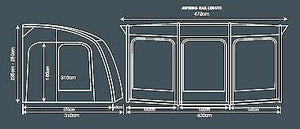 2020 Outdoor Revolution Esprit 420 Pro Inflatable Caravan Porch Awning