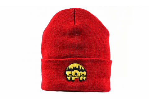 First Priority Music- Beanie Hat Red with FPM Logo Embroidery - firstprioritymusic