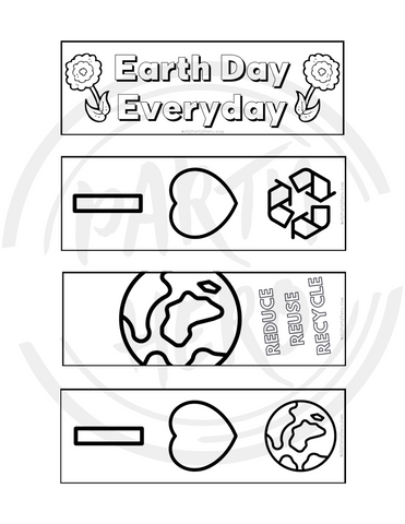 Earth Day Coloring Bookmark Set of 4