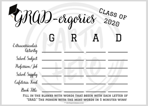 Grad Party Game Printable at Home Grad-ergories 2020