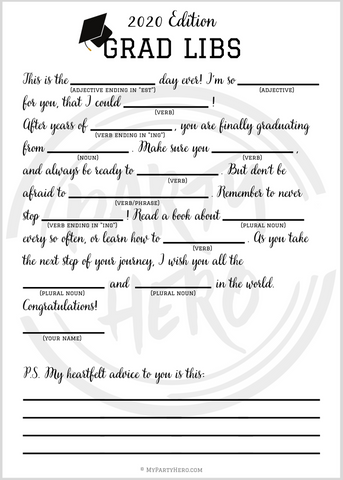 Grad Party Game Printable for 2020 Grad Libs at Home
