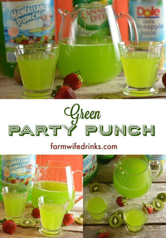 green Hawaiin Punch, Canada Dry Ginger Ale, and Dole pineapple juice sit behind a pitcher and glasses of green punch