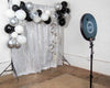 2021 Silver Balloon Garland on Silver Sequin Photo Booth Backdrop