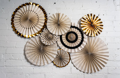 White Black and Gold Foil Decorative Party Fans