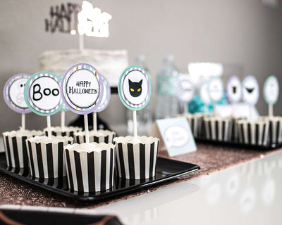 Cute Halloween Party Cupcake Toppers