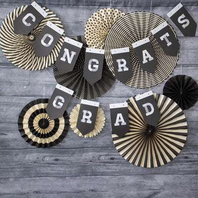 2020 Graduation Party Banner and Fan Backdrop Kit