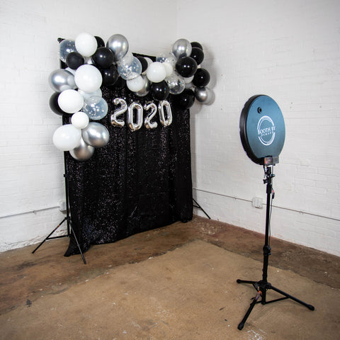 Graduation Party 2020 Balloon Garland with Black Sequin Backdrop and Photo Booth